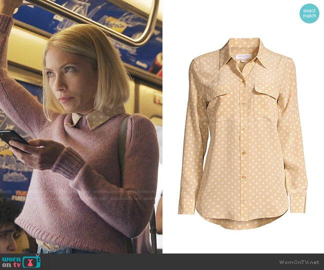 Signature Slim-Fit Polka Dot Silk Shirt by Equipment worn by Kate Keller (Tavi Gevinson) on Gossip Girl