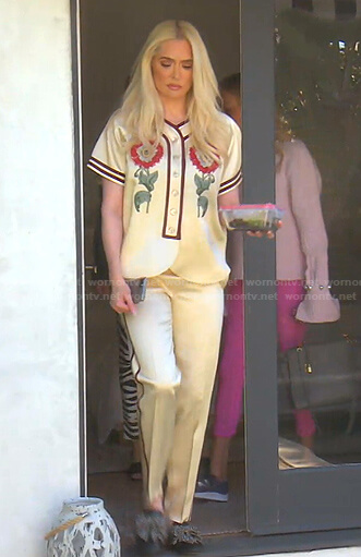 Erika floral satin top and pants on The Real Housewives of Beverly Hills