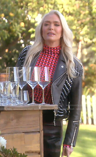 Erika's black pearl embellished moto jacket on The Real Housewives of Beverly Hills