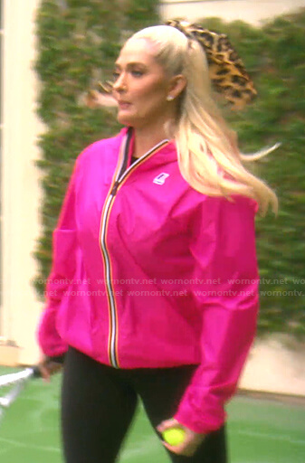 Erika's pink hooded sport jacket on The Real Housewives of Beverly Hills