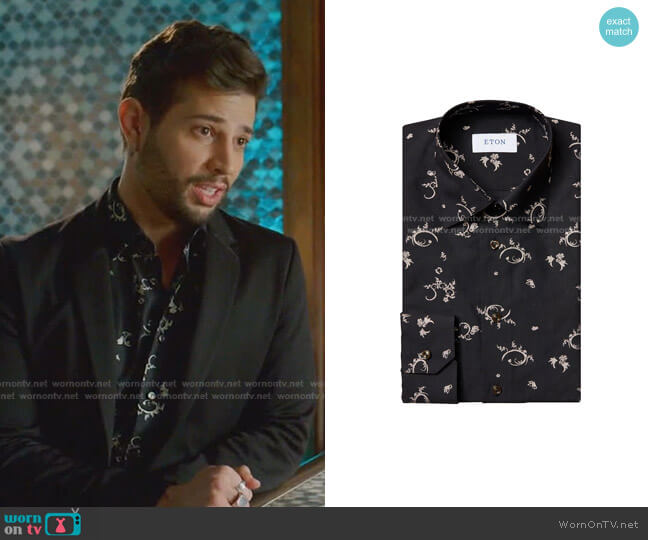 Contemporary-Fit Embroidered Dress Shirt by Eton worn by Sam Flores (Rafael de la Fuente) on Dynasty