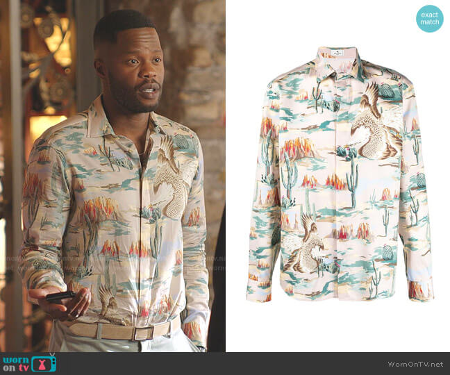 Western-Print Sport Shirt by Etro worn by Jeff Colby (Sam Adegoke) on Dynasty