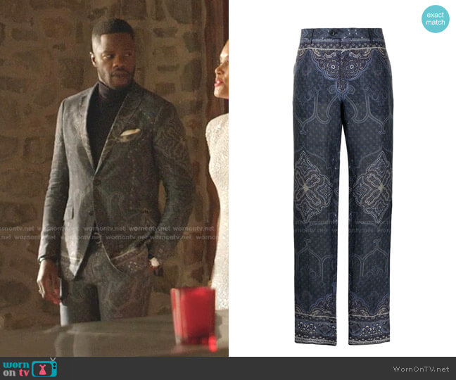 Paisley-Print Trousers by Etro worn by Jeff Colby (Sam Adegoke) on Dynasty