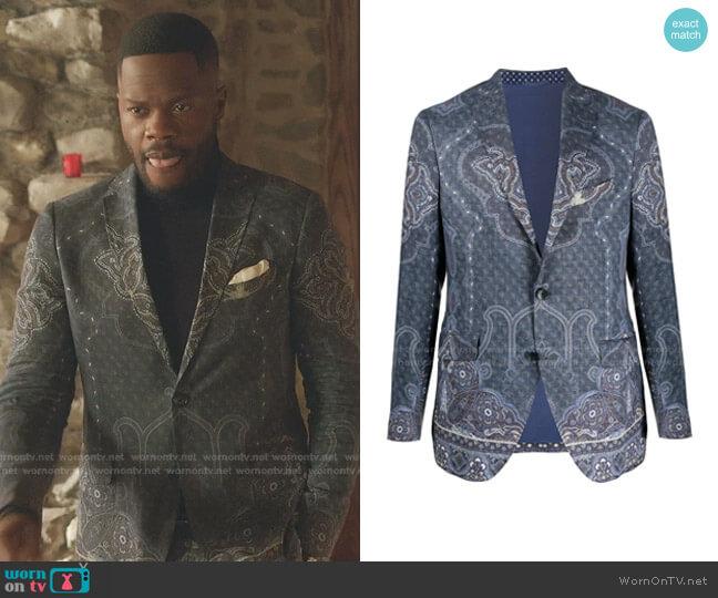 Paisley-Print Single-Breasted Blazer by Etro worn by Jeff Colby (Sam Adegoke) on Dynasty