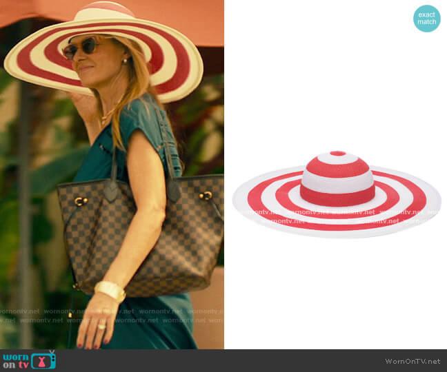 Eugenia Kim Striped Sunny Hat worn by Nicole Mossbacher (Connie Britton) on The White Lotus