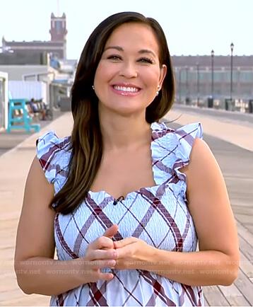 Eva's blue plaid smocked dress on Good Morning America