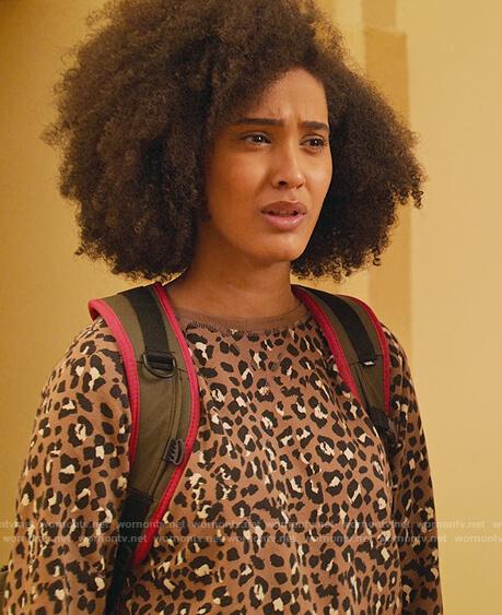 Fabiola's brown leopard sweatshirt on Never Have I Ever