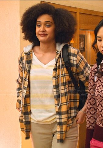 Devi's yellow striped printed cardigan coat on Never Have I Ever