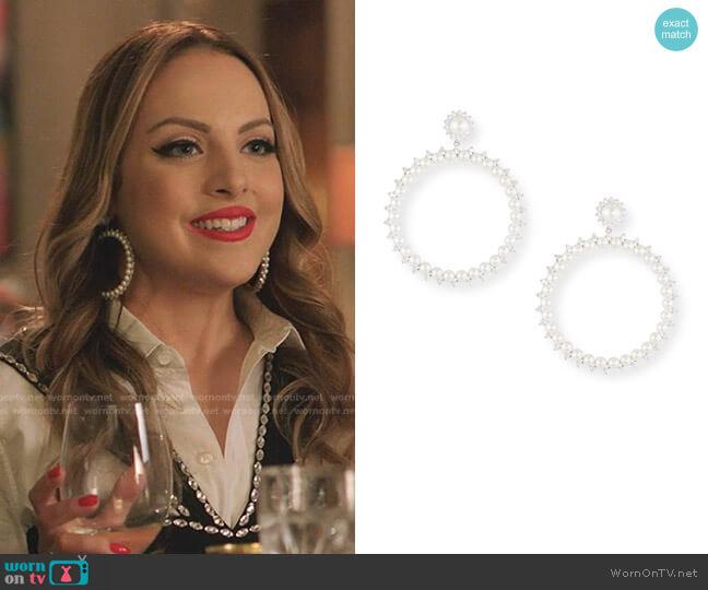Pearly Drama Hoop Earrings by Fallon worn by Fallon Carrington (Elizabeth Gillies) on Dynasty