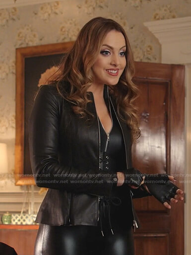 Fallon's leather peplum jacket on Dynasty