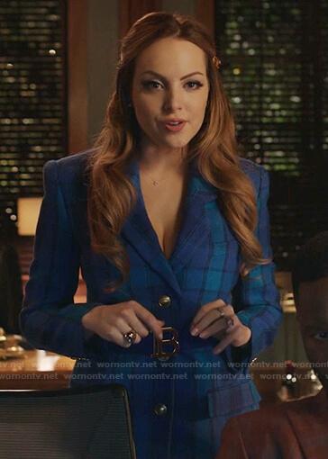 Fallon's blue plaid blazer and mini skirt on Dynasty