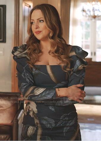 FAllon's blue printed puff sleeve dress on Dynasty