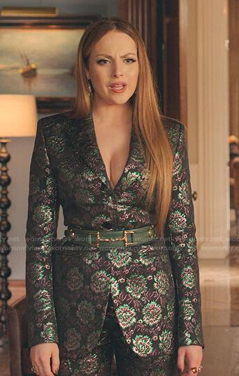 Fallon's metallic floral blazer and pants on Dynasty