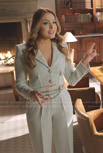 Fallon's tweed cropped blazer and pants on Dynasty