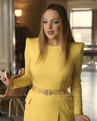 Fallon's yellow mini dress on Dynasty