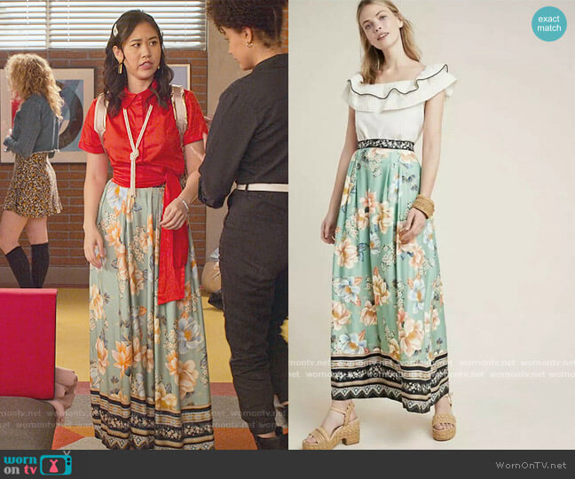 Farm Rio Siren Floral Print Maxi Long Green Skirt by Anthropologie worn by Fabiola Torres (Lee Rodriguez) on Never Have I Ever