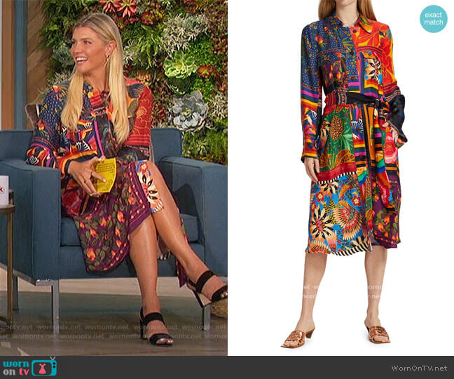 Mixed Scarves Shirtdress by Farm Rio worn by Amanda Kloots  on The Talk