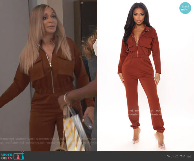 Isabella Utility Jumpsuit by Fashion Nova worn by Karen Huger  on The Real Housewives of Potomac