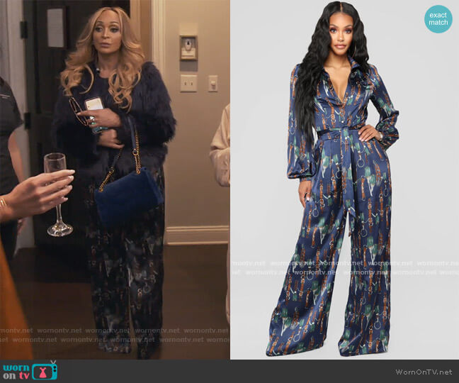 The Entertainer Satin Jumpsuit by Fashion Nova worn by Karen Huger  on The Real Housewives of Potomac
