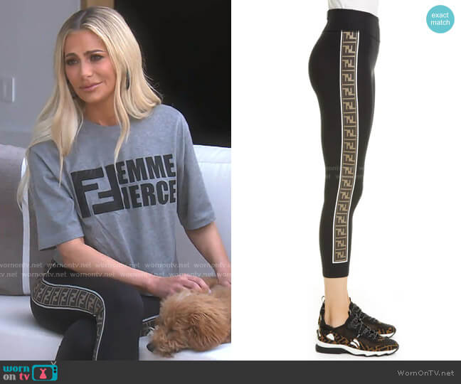 Logo Side Stripe Leggings by Fendi worn by Dorit Kemsley  on The Real Housewives of Beverly Hills