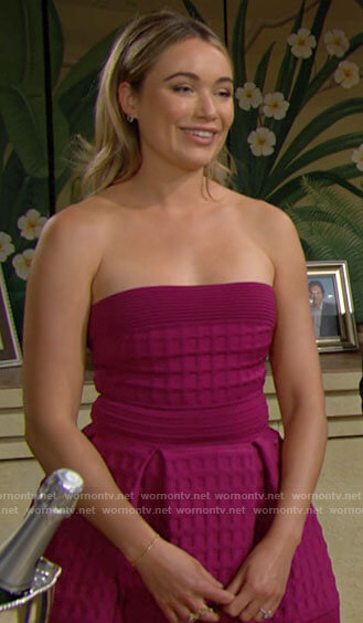 Flo's pink strapless dress on The Bold and the Beautiful