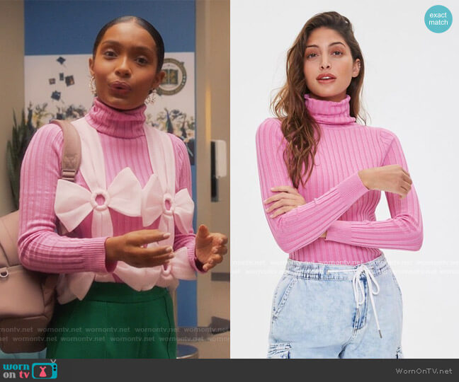 Ribbed Turtleneck Sweater by Forever 21 worn by Zoey Johnson (Yara Shahidi) on Grown-ish