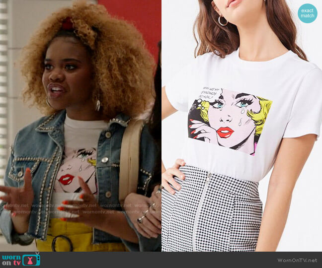 Forever 21 Comic Book Woman Tee worn by Kourtney (Dara Renee) on High School Musical The Musical The Series