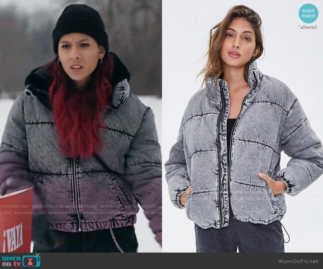 Forever 21 Denim Puffer Jacket worn by Maya Jimenez (Izabella Alvarez) on The Republic of Sarah