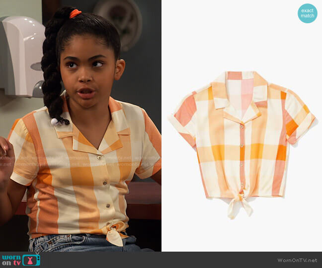 Forever 21 Girls Knotted Plaid Shirt worn by Millicent (Jaidyn Triplett) on iCarly