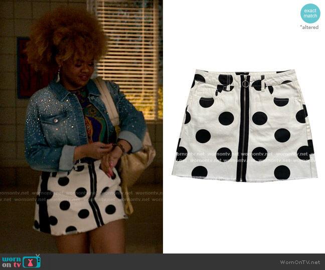 Forever 21 Polka Dot Denim Skirt worn by Kourtney (Dara Renee) on High School Musical The Musical The Series