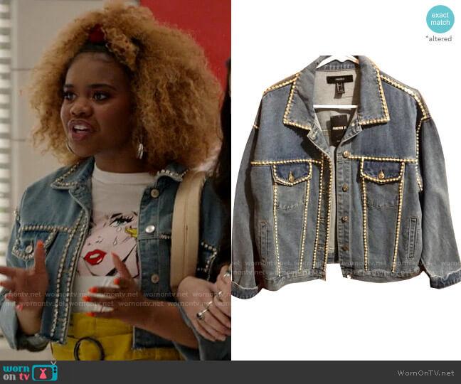 Forever 21 Rhinestone Denim Jacket worn by Kourtney (Dara Renee) on High School Musical The Musical The Series