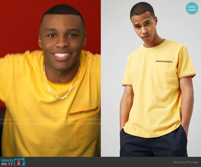 Forever 21 Striped-Trim Textured Pocket Tee worn by James (Dyllon Burnside) on American Horror Stories