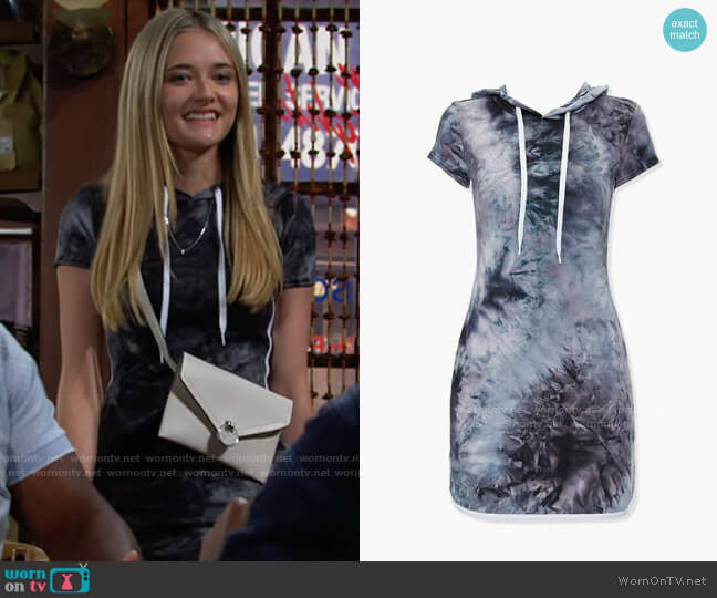 Forever 21 Tie Dye Hoodie Dress worn by Faith Newman (Reylynn Caster) on The Young & the Restless