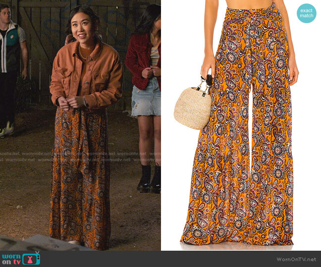 Aloha Wide Leg Pant by Free People worn by Eleanor Wong (Ramona Young) on Never Have I Ever