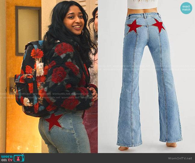 Firecracker Flare Jeans by Free People worn by Devi Vishwakumar (Maitreyi Ramakrishnan) on Never Have I Ever