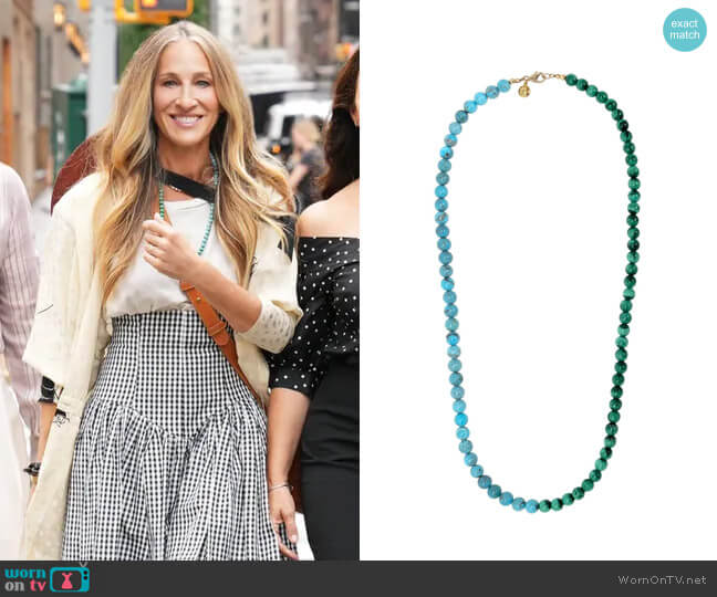 Fry Powers Turquoise + Malachite Rope Necklace worn by Carrie Bradshaw (Sarah Jessica Parker) on And Just Like That (Sex & the City reboot)