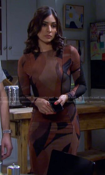 Gabi's brown abstract print dress on Days of our Lives