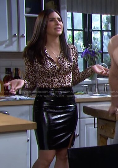 Gabi's leopard print shirt and leather skirt on Days of our Lives