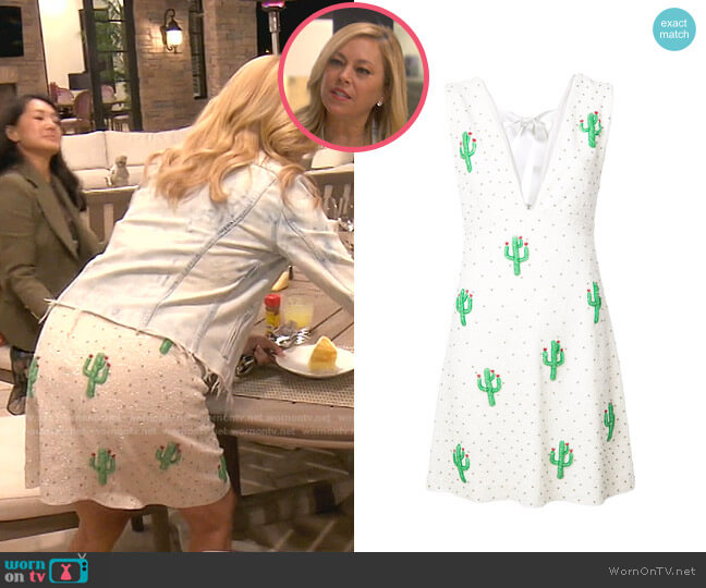 Beaded Cactus Dress by Ganni worn by Sutton Stracke  on The Real Housewives of Beverly Hills