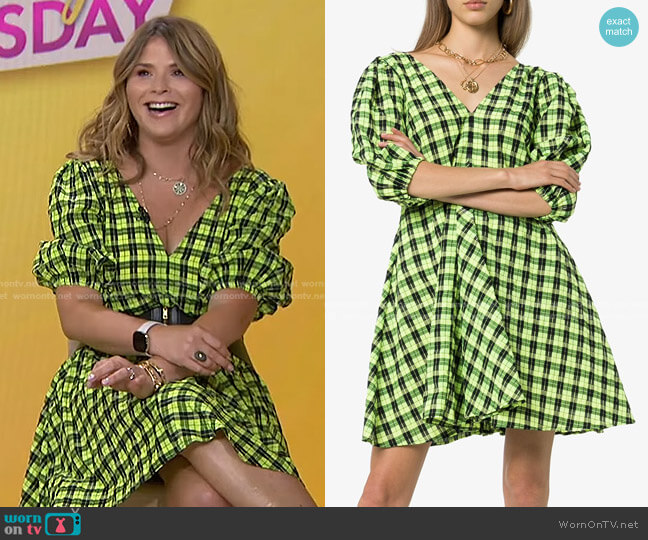 Check Puff-Sleeve Dress by Ganni worn by Jenna Bush Hager  on Today