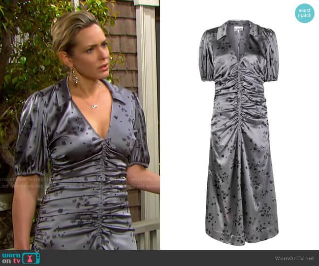 Floral Ruched Stretch Silk Satin Dress by Ganni worn by Nicole Walker (Arianne Zucker) on Days of our Lives
