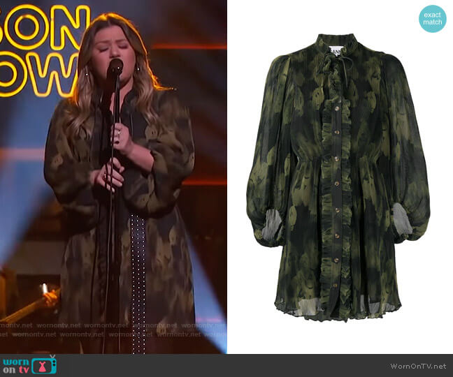 Pleated Georgette Balloon-sleeve Dress by Ganni worn by Kelly Clarkson  on The Kelly Clarkson Show