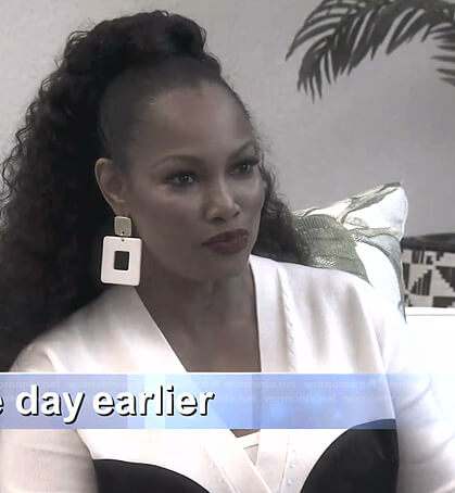 Garcelle's white face cardigan on The Real Housewives of Beverly Hills