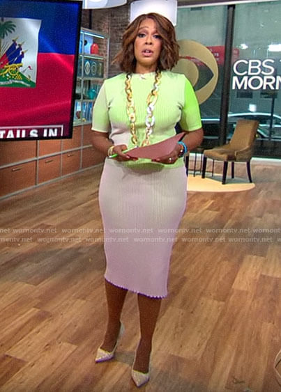 Gayle King's green and pink ribbed top and skirt set on CBS This Morning