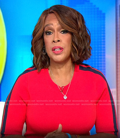 Gayle King's red dress with side stripes on CBS This Morning