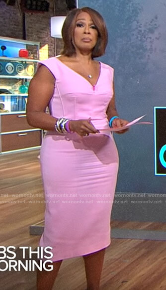 Gayle King's pink v-neck dress on CBS This Morning