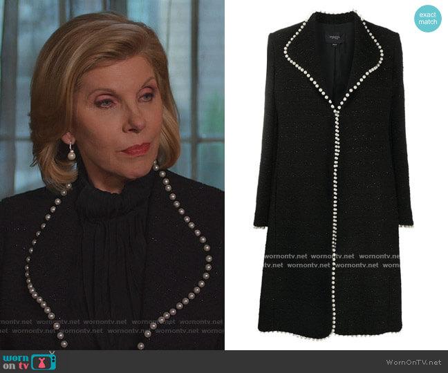 Faux-pearl trim tailored Coat by Giambattista Valli worn by Diane Lockhart (Christine Baranski) on The Good Fight