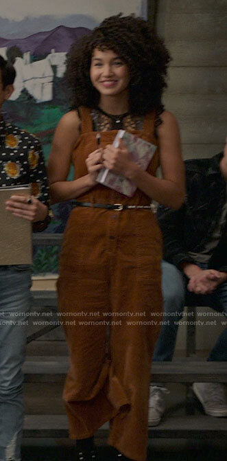 Gina's tan corduroy jumpsuit on High School Musical The Musical The Series