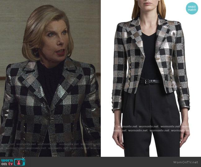 Bold-Checked Metallic Jacket by Giogio Armani worn by Diane Lockhart (Christine Baranski) on The Good Fight