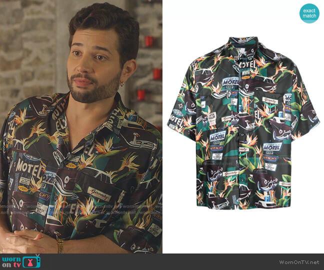 Motel Print Short-Sleeve Shirt by Givenchy worn by Sam Flores (Rafael de la Fuente) on Dynasty